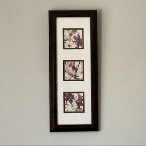 Target Framed 3 Panel Floral Art w Brown Frame